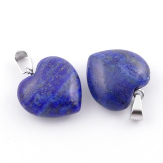 38642-13 PACK OF 2 HEART SHAPED 16 MM PENDANTS IN LAPIS LAZULI