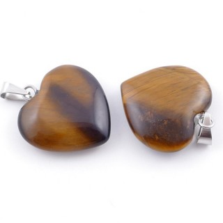 33740-09 PACK OF 2 HEART SHAPED 20 MM PENDANTS IN TIGER'S EYE