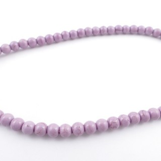 42675-19 40 CM LONG STRING OF 6 MM DYED TURQUOISE BEADS