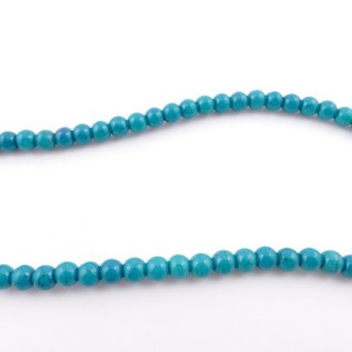 42675-23 40 CM LONG STRING OF 6 MM DYED TURQUOISE BEADS