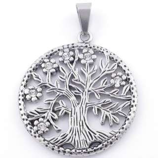 49087 STAINLESS STEEL PENDANT WITH TREE OF LIFE. DIAMETER: 36 MM