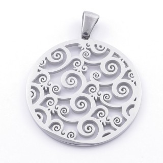 49141 STAINLESS STEEL 28 MM PENDANT WITH CUTWORK DESIGN