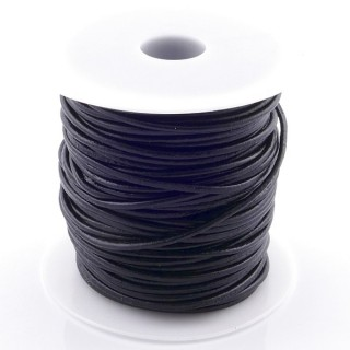 38767-01 ROLL OF 45 METERS OF 2,5 MM ROUND BLACK LEATHER