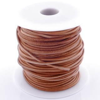 38767-03 ROLL OF 45 METERS OF 2,5 MM ROUND CAMEL COLOURED LEATHER