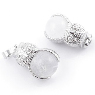 49002-01 PACK OF 2 FASHION JEWELRY METAL PENDANTS WITH 12 MM BEAD IN WHITE QUARTZ