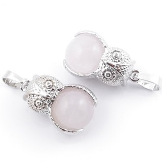 49002-02 PACK OF 2 FASHION JEWELRY METAL PENDANTS WITH 12 MM BEAD IN ROSE QUARTZ