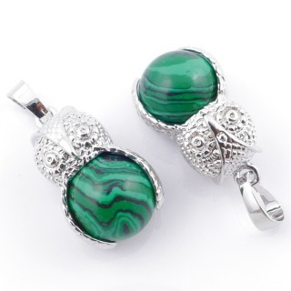 49002-06 PACK OF 2 FASHION JEWELRY METAL PENDANTS WITH 12 MM BEAD IN MALACHITE