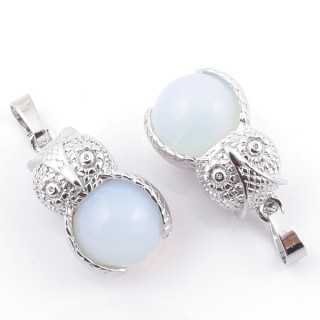 49002-08 PACK OF 2 FASHION JEWELRY METAL PENDANTS WITH 12 MM BEAD IN OPALINE