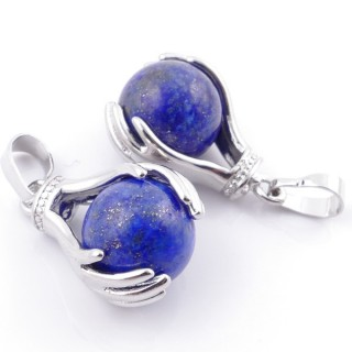 49003-13 PACK OF 2 FASHION JEWELRY METAL PENDANTS WITH 12 MM BEAD IN LAPIS LAZULI
