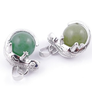 49004-12 PACK OF 2 FASHION JEWELRY METAL PENDANTS WITH 12 MM BEAD IN GREEN AVENTURINE