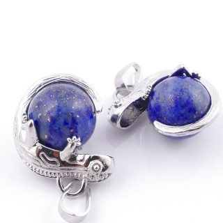 49004-13 PACK OF 2 FASHION JEWELRY METAL PENDANTS WITH 12 MM BEAD IN LAPIS LAZULI