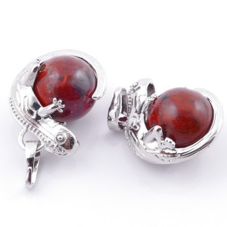 49004-15 PACK OF 2 FASHION JEWELRY METAL PENDANTS WITH 12 MM BEAD IN RED JASPER