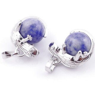 49004-16 PACK OF 2 FASHION JEWELRY METAL PENDANTS WITH 12 MM BEAD IN SODALITE