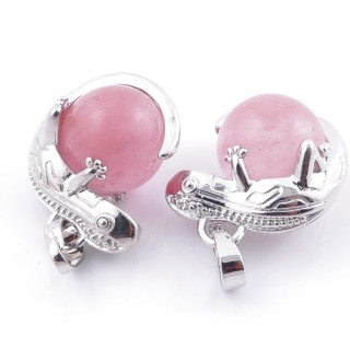 49004-18 PACK OF 2 FASHION JEWELRY METAL PENDANTS WITH 12 MM BEAD IN CHERRY QUARTZ