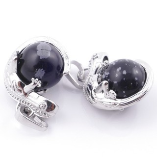49004-24 PACK OF 2 FASHION JEWELRY METAL PENDANTS WITH 12 MM BEAD IN SNOWFLAKE OBSIDIAN