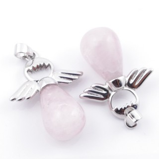 49005-02 PACK OF 2 FASHION JEWELRY METAL PENDANTS WITH 12 MM TEARDROP IN ROSE QUARTZ