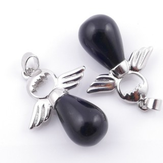 49005-04 PACK OF 2 FASHION JEWELRY METAL PENDANTS WITH 12 MM TEARDROP IN ONYX