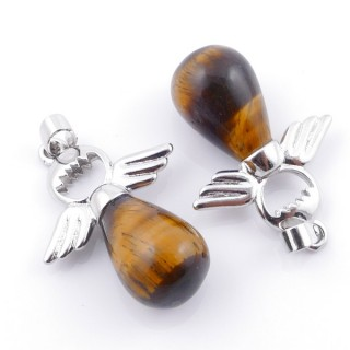 49005-09 PACK OF 2 FASHION JEWELRY METAL PENDANTS WITH 12 MM TEARDROP IN TIGER'S EYE