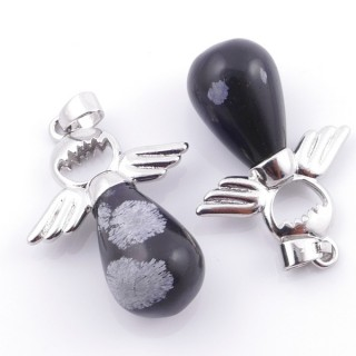 49005-24 PACK OF 2 FASHION JEWELRY METAL PENDANTS WITH 12 MM TEARDROP IN SNOWFLAKE OBSIDIAN