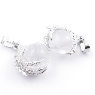 49006-01 PACK OF 2 FASHION JEWELRY METAL PENDANTS WITH 12 MM BEAD IN WHITE QUARTZ