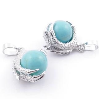 49006-03 PACK OF 2 FASHION JEWELRY METAL PENDANTS WITH 12 MM BEAD IN TURQOISE