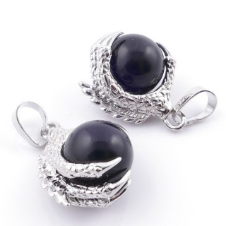 49006-04 PACK OF 2 FASHION JEWELRY METAL PENDANTS WITH 12 MM BEAD IN ONYX