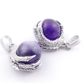 49006-05 PACK OF 2 FASHION JEWELRY METAL PENDANTS WITH 12 MM BEAD IN AMETHSYT