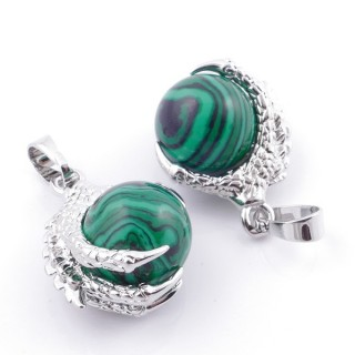 49006-06 PACK OF 2 FASHION JEWELRY METAL PENDANTS WITH 12 MM BEAD IN MALACHITE