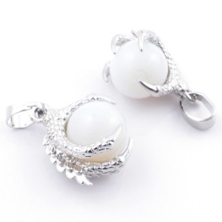 49006-08 PACK OF 2 FASHION JEWELRY METAL PENDANTS WITH 12 MM BEAD IN OPALINE