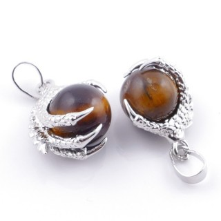 49006-09 PACK OF 2 FASHION JEWELRY METAL PENDANTS WITH 12 MM BEAD IN TIGER'S EYE