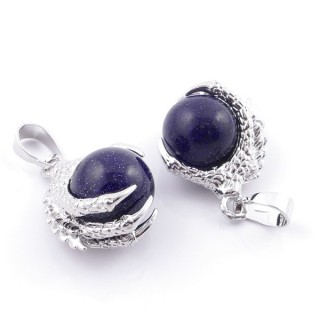49006-11 PACK OF 2 FASHION JEWELRY METAL PENDANTS WITH 12 MM BEAD IN BLUE SANDSTONE