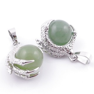 49006-12 PACK OF 2 FASHION JEWELRY METAL PENDANTS WITH 12 MM BEAD IN GREEN AVENTURINE