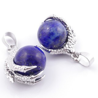 49006-13 PACK OF 2 FASHION JEWELRY METAL PENDANTS WITH 12 MM BEAD IN LAPIS LAZULI