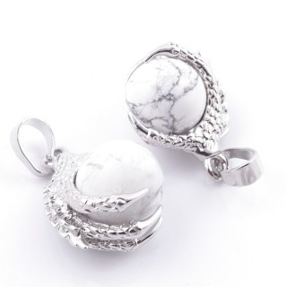 49006-14 PACK OF 2 FASHION JEWELRY METAL PENDANTS WITH 12 MM BEAD IN HOWLITE