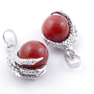 49006-15 PACK OF 2 FASHION JEWELRY METAL PENDANTS WITH 12 MM BEAD IN RED JASPER