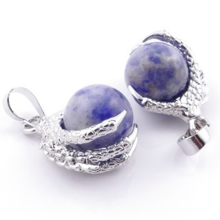 49006-16 PACK OF 2 FASHION JEWELRY METAL PENDANTS WITH 12 MM BEAD IN SODALITE