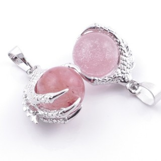 49006-18 PACK OF 2 FASHION JEWELRY METAL PENDANTS WITH 12 MM BEAD IN CHERRY QUARTZ