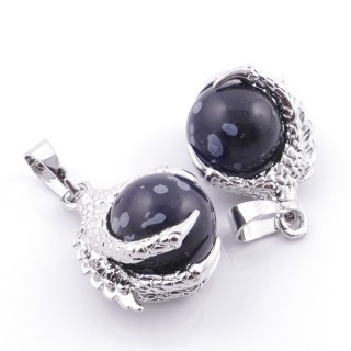 49006-24 PACK OF 2 FASHION JEWELRY METAL PENDANTS WITH 12 MM BEAD IN SNOWFLAKE OBSIDIAN