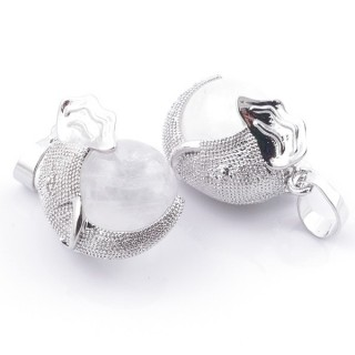 49007-01 PACK OF 2 FASHION JEWELRY METAL PENDANTS WITH 12 MM BEAD IN WHITE QUARTZ