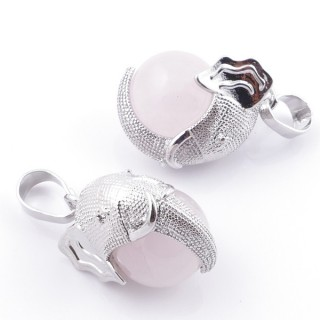 49007-02 PACK OF 2 FASHION JEWELRY METAL PENDANTS WITH 12 MM BEAD IN ROSE QUARTZ