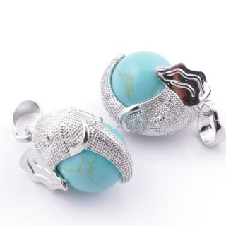 49007-03 PACK OF 2 FASHION JEWELRY METAL PENDANTS WITH 12 MM BEAD IN TURQOISE