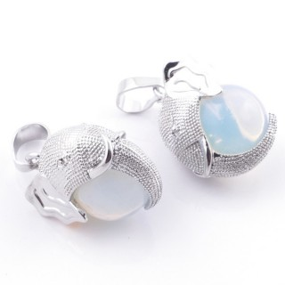 49007-08 PACK OF 2 FASHION JEWELRY METAL PENDANTS WITH 12 MM BEAD IN OPALINE