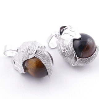 49007-09 PACK OF 2 FASHION JEWELRY METAL PENDANTS WITH 12 MM BEAD IN TIGER'S EYE