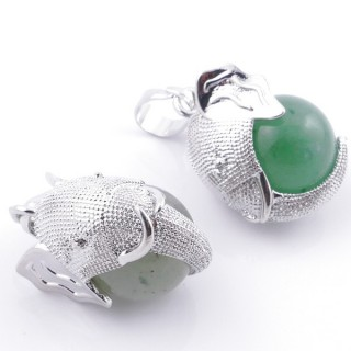 49007-12 PACK OF 2 FASHION JEWELRY METAL PENDANTS WITH 12 MM BEAD IN GREEN AVENTURINE