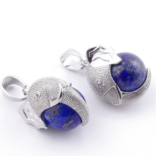 49007-13 PACK OF 2 FASHION JEWELRY METAL PENDANTS WITH 12 MM BEAD IN LAPIS LAZULI