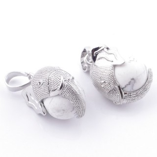 49007-14 PACK OF 2 FASHION JEWELRY METAL PENDANTS WITH 12 MM BEAD IN HOWLITE