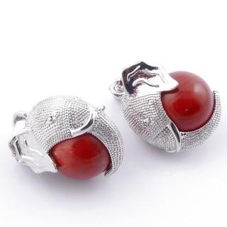 49007-15 PACK OF 2 FASHION JEWELRY METAL PENDANTS WITH 12 MM BEAD IN RED JASPER