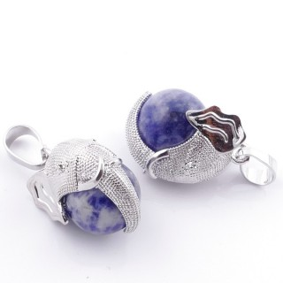 49007-16 PACK OF 2 FASHION JEWELRY METAL PENDANTS WITH 12 MM BEAD IN SODALITE