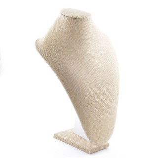 38753 WOODEN DISPLAY BUST WITH BEIGE JUTE FINISH 32 X 23 X 13 CM