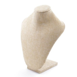 38755 WOODEN DISPLAY BUST WITH BEIGE JUTE FINISH 22 X 17 X 10 CM